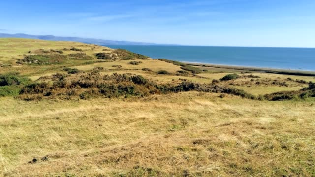 tilt up move. Panorama of dry grass fields, beach and sea in Wales tilt up move. Panorama of dry grass fields, beach and sea in Wales heat haze stock videos & royalty-free footage