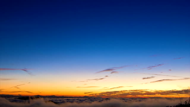 Tilting Down on Early Morning Horizon in Blue Ridge Mountains Tilting Down onto an Early Morning Horizon in the Blue Ridge Mountains Featuring the Cloud Covered Smokey Mountains with a Blue Sky. horizon over land stock videos & royalty-free footage