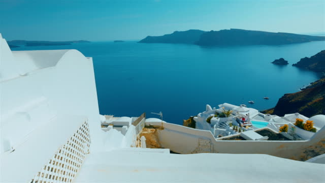 Tilting Shot Mediterranean Coast Greek Island of Santorini video