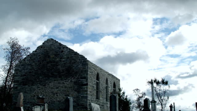 Tilting Video from the sky of an Abandoned Church and Cemetery