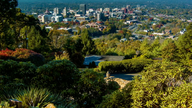 Tilting-up and Revealing Asheville City Downtown viewed from Town Mountain video