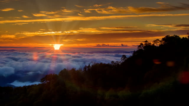 Tilting-up to a Smoky Mountain Sunrise with Rays and Flares video