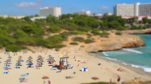 Tilt-Shift Miniature Effect and Timelapse of a Beach video