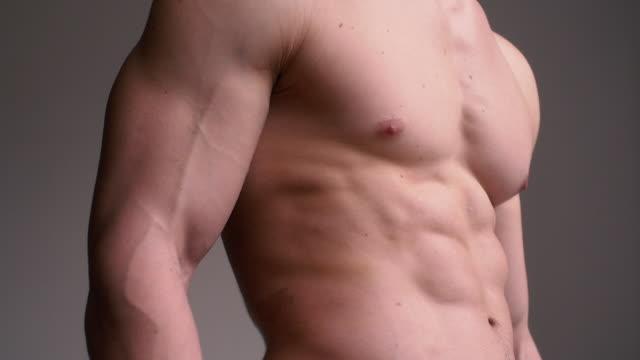 ティルト アップ選手の引き締まった胴体 - ボディビル点の映像素材/bロール