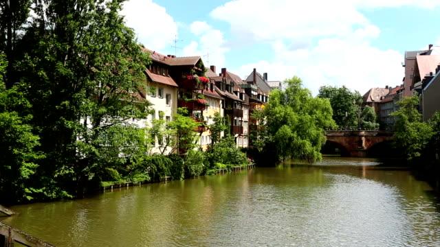 Timbered houses in Nuremberg Timbered houses in Nuremberg wasser videos stock videos & royalty-free footage