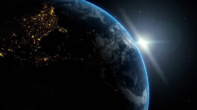Time Change from Night to Day Light on Planet Earth Globe Moving in Universe Space
