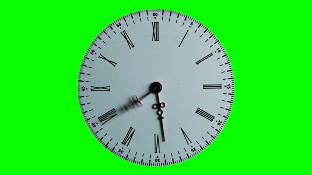 時間が飛んで、緑の背景の高速スピン時計 - 時計点の映像素材/bロール