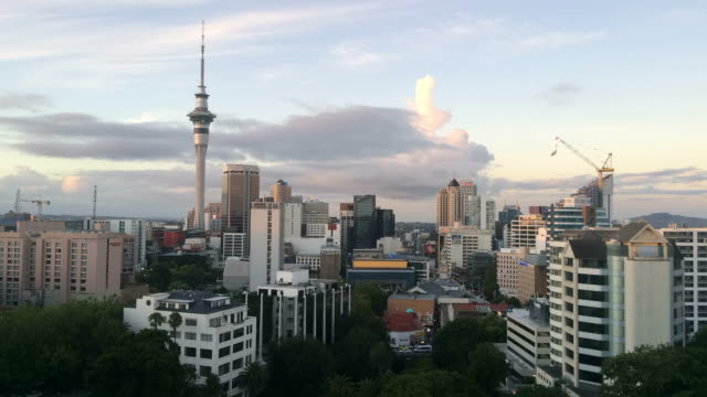 Time laps of Auckland New Zealand Skyline at sunset video