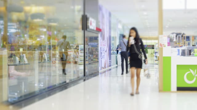 4K Time Lapse 4096x2160 : The crowd at shopping mall and walk around mall with ProRes 422HQ.panning styles. video