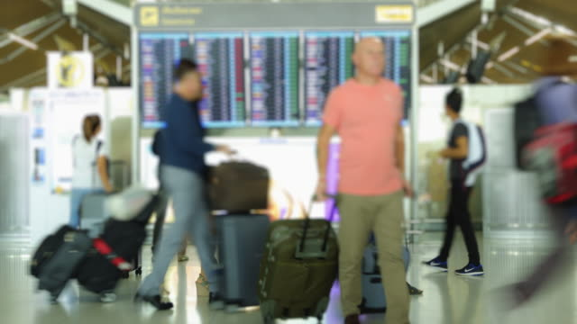 4K Time Lapse 4096x2160 : The passengers checking schedule flying with ProRes 422HQ (Blur content). video