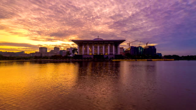 Time lapse 4k Footage of Epic Sunrise At Iron Mosque, Putrajaya. tilt up. video