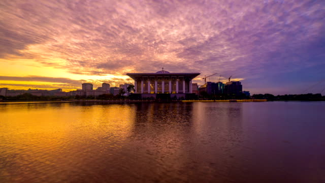 Time lapse 4k Footage of Epic Sunrise At Iron Mosque, Putrajaya. Zoom in. video