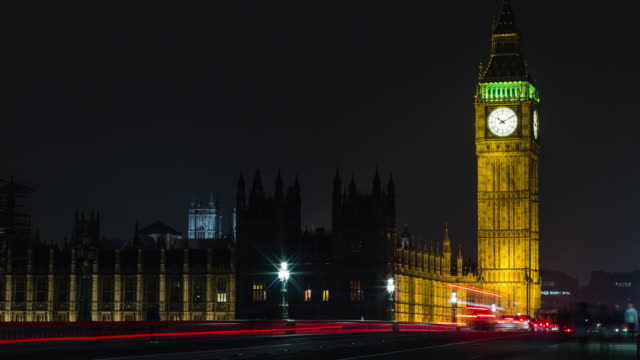 Time lapse 4K of traffic in front of Big Ben at night video
