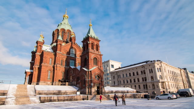 time lapse 4k : tourists travel to uspensky cathedral in helsinki, finland - cathedrals stock videos & royalty-free footage