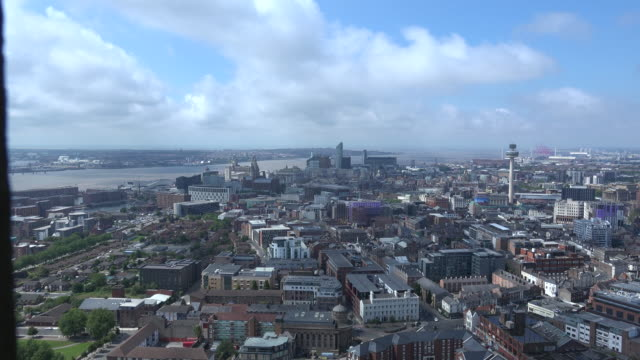 Time lapse aerial of Liverpool city 4K video