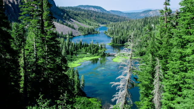 Time Lapse - Aerial View at Twin Lakes at Mammoth Lakes, California video