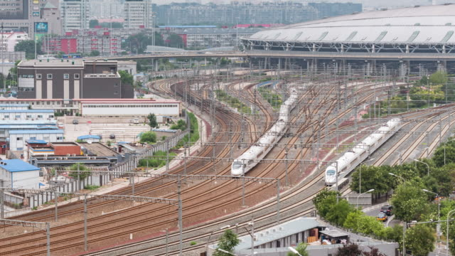 Time Lapse- Aerial View of a Group of Trains in a Railway Station, Beijing, China video