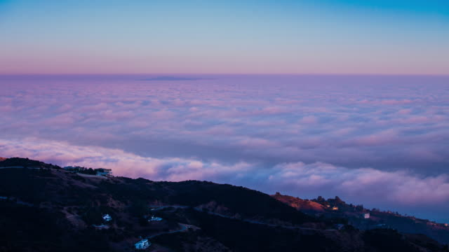 Time Lapse - Aerial View of Beautiful Fog at Sunset - 4K video