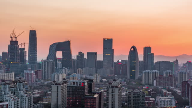 Time Lapse- Aerial view of Beijing CBD area, Day to Night Transition (WS/ Zoom) video