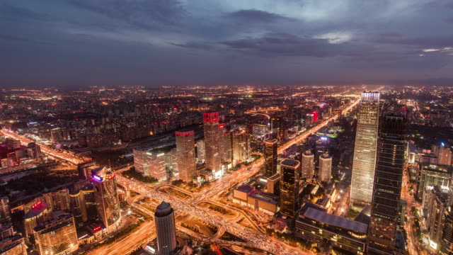 Time Lapse- Aerial View of Beijing Skyline, from day to Night (Panning) video