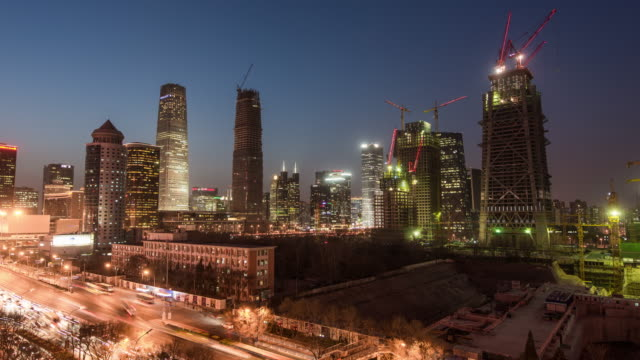 Time Lapse- Aerial View of Beijing Skyline from Dusk to Night video