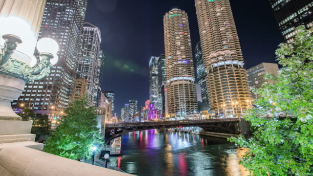 Time Lapse - Aerial View of Chicago Downtown at Night - 4K Time Lapse - Aerial View of Chicago Downtown at Night - 4K chicago stock videos & royalty-free footage