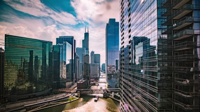 Time Lapse - Aerial View of Chicago Downtown with Beautiful Clouds - 4K Time Lapse - Aerial View of Chicago Downtown with Beautiful Clouds - 4K chicago architecture stock videos & royalty-free footage