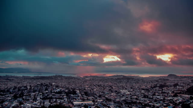 Time Lapse - Aerial View of Cloudscape at Twin Peaks, San Francisco video