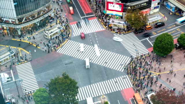 Time lapse aerial view of pedestrians walking across with crowded traffic at Shibuya crossing square video