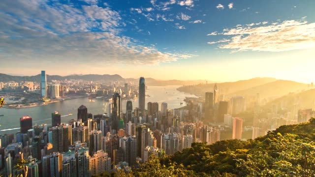 4k time lapse aerial view of victoria harbor, hong kong city - hong kong video stock e b–roll
