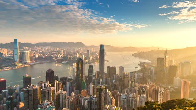 4K Time lapse Aerial view of Victoria Harbor, Hong Kong city video