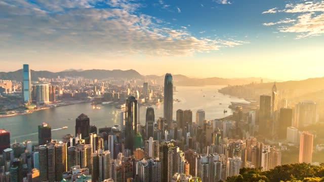 4 k 시간 경과 빅토리아 항구, 홍콩 시의 항공 보기 - 스카이라인 스톡 비디오 및 b-롤 화면