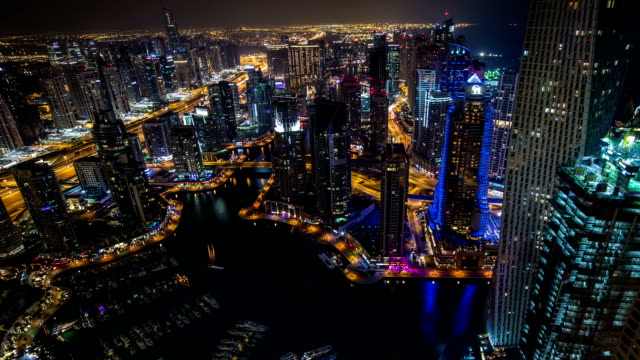time lapse aerial view Sheikh Zayed Road with Dubai Marina video