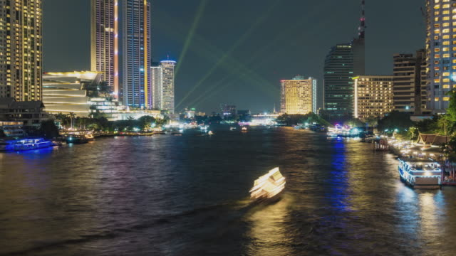 Time lapse: Aerial view The hustle and Traffic boats of Chao Phraya River Pier in Bangkok.