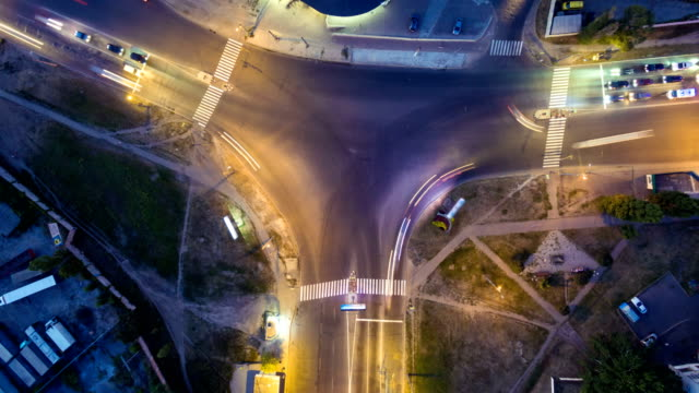 Time lapse aerial view to crossroads T Y shaped, Kharkiv