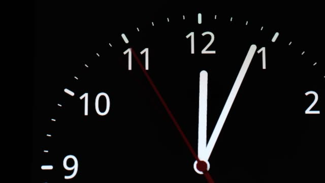 time lapse, analog clock about to 12 midnight or midday, conceptual of New Year and countdown. close up. time lapse, analog clock about to 12 midnight or midday, conceptual of New Year and countdown. close up. midday stock videos & royalty-free footage