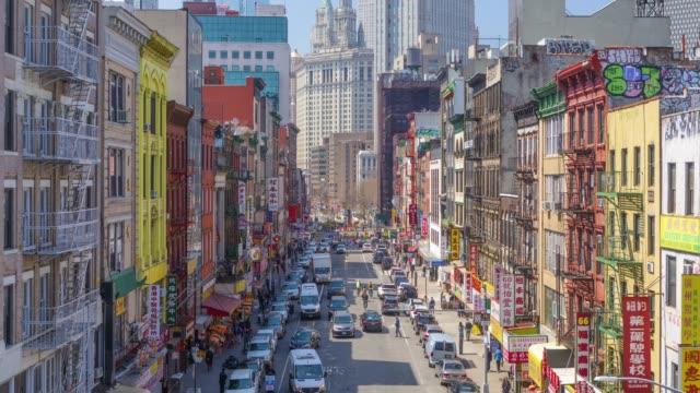 중국 타운, 맨하탄, 뉴욕, 미국에 대 한 시간 경과 및 높은 각도 보기 - 도시 거리 스톡 비디오 및 b-롤 화면