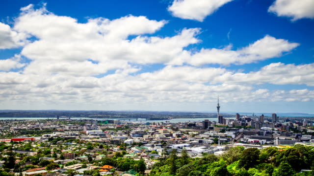 Time Lapse - Ariel View of Downtown Auckland, New Zealand video
