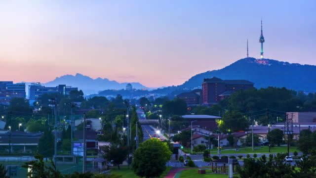 Time lapse at Seoul City and Namsan Mountain,South Korea. Time lapse at Seoul City and Namsan Mountain,South Korea. namsan seoul stock videos & royalty-free footage