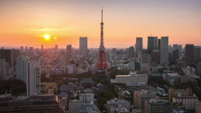 Time Lapse at Twilight time Cityscape of Tokyo Tower , Tokyo skyline kanto Japan video