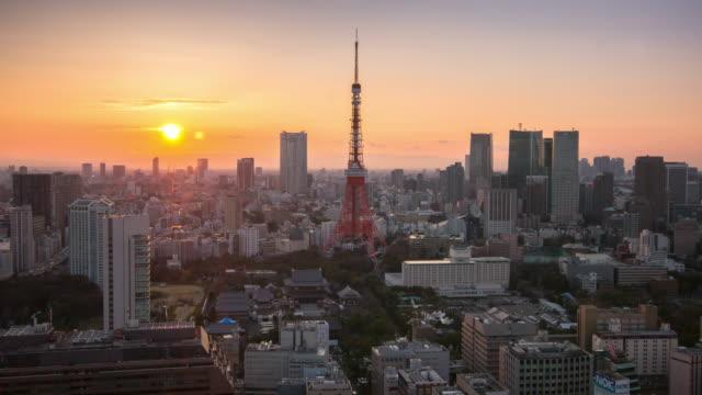 夕暮れ時東京スカイライン関東日本東京タワー都市景観の時間経過 ビデオ
