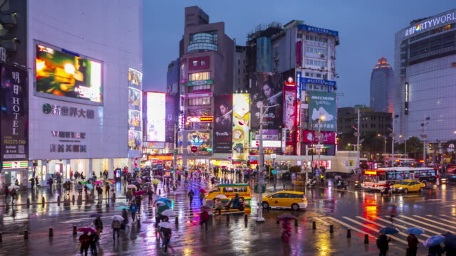 Time lapse at Ximending Night Market.People walking on a shopping street at night, Taipei,Taiwan video