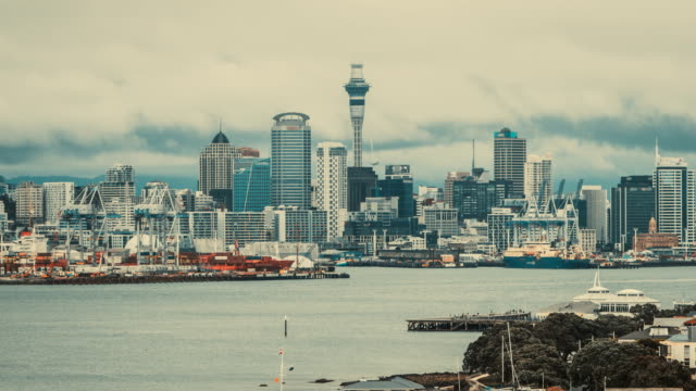 Time Lapse - Auckland Sky Tower and Harbour in Devonport, Auckland, New Zealand video