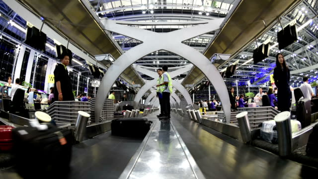Time lapse baggage conveyor belt at airport video