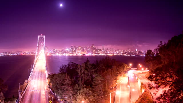 Time Lapse - Bay Bridge at San Francisco at Night