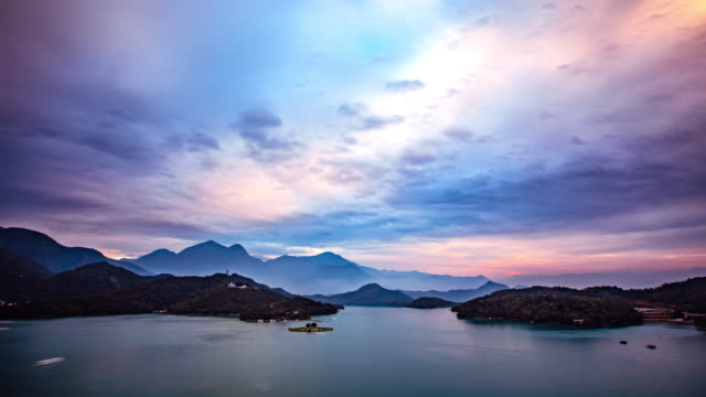 Time Lapse - Beautiful Clouds Moving Over Sun Moon Lake in Taiwan - 4K