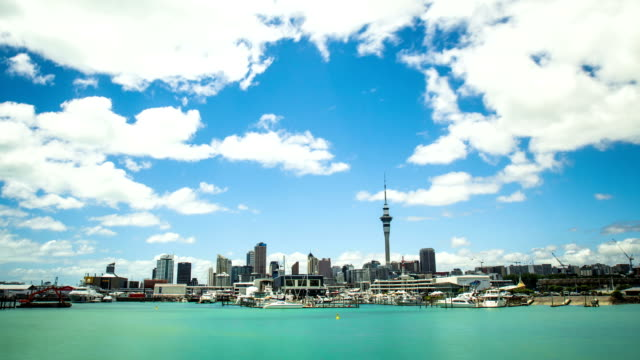 Time Lapse - Beautiful Cloudscape Moving Over Bay Harbor, Auckland, New Zealand HD video