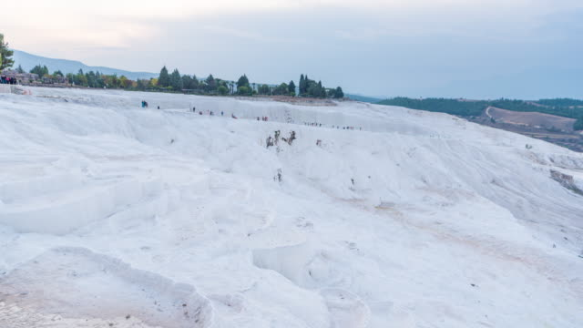 Time lapse : Beautiful Hot Air Balloons flying over rock landscape pamukkale National Park at Turke