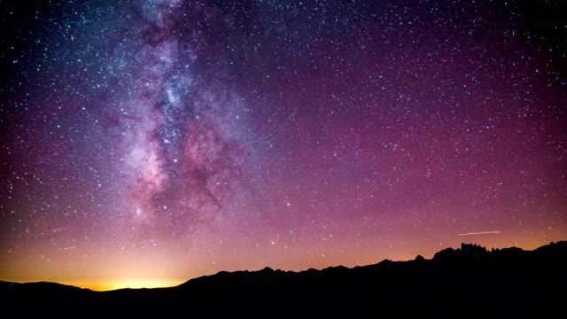 Time Lapse - Beautiful Milky Way Galaxy above Mountain Range video