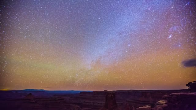 Time Lapse- Beautiful  Milkyway Moving Over Dead Horsepoint State Park -Utah - USA